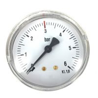 Manometer rvs kast ø 63 mm 0-6 bar rode streep op 3 bar achteraansluiting 1/4 BSP