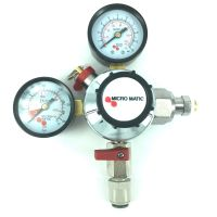Micromatic CO2 Reduceer meter lage druk 0-3 bar, werkdruk 2 bar, 1 uitgang JG 3/8 insteek = 9.5 mm