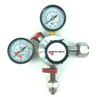 Micromatic CO2 Reduceer meter 0-10 bar, werkdruk 7 bar, 1 uitgang 3/8 flare